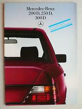 Prospekt Mercedes W 124: 200 D, 250 D, 300 D schadstoffarm, 8.1985, 32 Seiten
