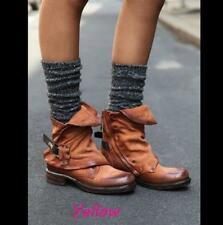 Ladies Retro Cuffes Buckle Punk Military Rivet Motorcycle Boots Low Heels Shoes