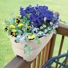 Deck Railing Planter 24in Plastic Flower Pot Porch Garden Drainage Holes White