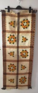 Vintage Boho 60/70's Felted Floral Wool Fringed Table Runner/Wall Hanging