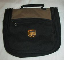 Vintage UPS Amenity Toiletry Make-Up Jewelry Zipper Bag Case Tan and Black