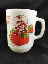 Strawberry Shortcake Coffee Cup Mug Anchor Hocking White Milk Glass Vintage 1980
