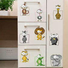 Funny Cartoon Animal Zebra Hippo Lion Fridge Decal Kid Room Closet Sticker Decor