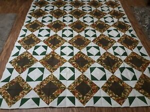 """Grandmother's Fan """"FALL LEAVES"""" Handmade Quilt Top 88 X 72"""