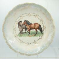 "9 1/4"" Lusterware Serving Bowl 2 Horses Blue Gold Trim Vintage Antique France?"