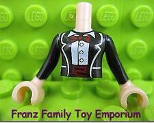 New LEGO Minifig Torso Friends Black Male / Female Formal Tuxedo Suit Pattern