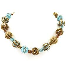 """BALL TURQUOISE BRASS BROWN GLASS SEED BEADS 22"""" LONG necklace"""