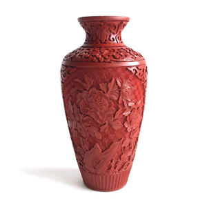 Vintage Chinese Carved Red Cinnabar Lacquer on Wood Cabinet Vase, 20th C.