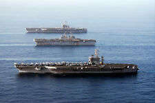 FLAGSHIP AIRCRAFT CARRIERS IN GULF OF OMAN 8x12 SILVER HALIDE PHOTO PRINT