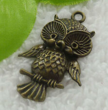 Free Ship 68 pieces bronze plated owl pendant 44x27mm #2017