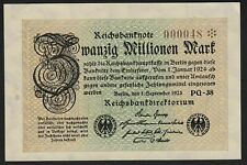 Mazuma *F336 Germany 1923 100 Million Mark 000048 Rare LOW Number  AUNC - UNC