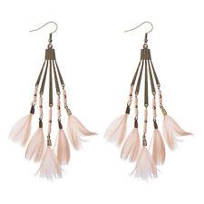 Bohemian Boho Bronze Dream Catcher Feather Tassel Women Dangle Hook Earrings