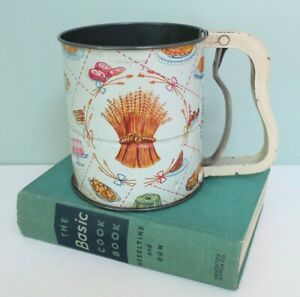 1950s Vintage Androck Hand-i-Sift 3-Screen Flour Sifter with Wheat & Baked Goods