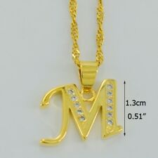 Alphabet M Small letter Pendant Necklace 18k Gold Plated Cz crystals initial