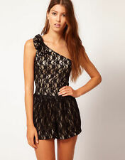 BNWT YUMI Lace One Shoulder Playsuit shorts dress 10, 12 UK MEDIUM EU 40 Black