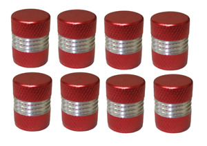 Red and Silver Round High Quality Metal Metallic Dust Caps Pack of 8 Caps