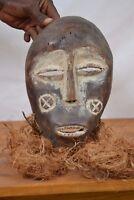 (African tribal art,Beautiful  Lega Bearded Mask DR Congo.)