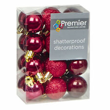 Christmas Tree Decoration 24 30mm Shatterproof Baubles - Cranberry Red