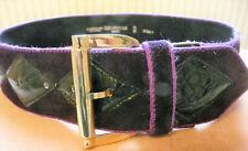 Ceinture Vintage l'AIGLON cuir et velour suédé losange violet T. 75/30 France