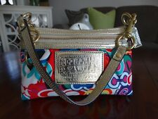 COACH POPPY Signature C Glam Multi-Color Large Wristlet