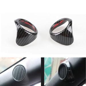 Pair Carbon A Pillar Door Tweeter Speaker Trim fit For Ford Mustang 2015-2018