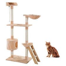 "New Cat Tree Tower 60"" Beige Condo Scratcher Furniture Kitten Pet House Hammock"