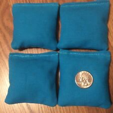"""4 Turquoise Mini cornhole bean bags 3 X 3"""" made with duck canvas double stitched"""