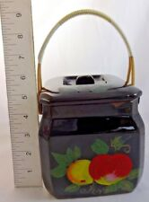 Antique Hand Painted Biscuit Barrel Jar Cookie Jar Terra Cotta Redware Bamboo