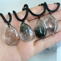 Natural Ghost Phantom Garden Quartz Crystal Specimen Healing Pendant Necklace