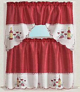 3-Piece Embroidered design Wine Cup Kitchen Curtain Set Red