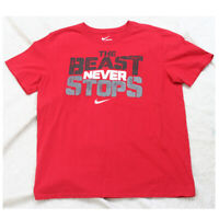 Nike The Beast Never Stops Red Graphic Tee T-Shirt Top Short Sleeve Mans Medium
