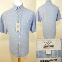 M&S Light Blue Chambray Denim Look Shirt Size L Tailored Fit Summer Holiday BNWT