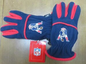 New England Patriots NFL Navy & Red Winter Fleece Mens Gloves By Reebok Size M