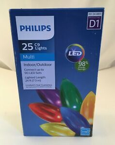 Philips Indoor Outdoor 25 Multi Color C9 Lights D1 LED Christmas Holiday Tree