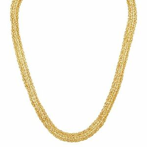 """Rope Border Byzantine Chain Link Necklace in 14K Gold, 18"""""""