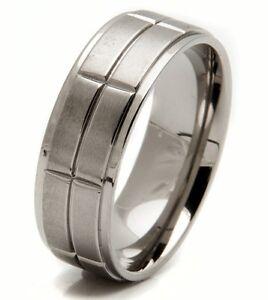 Mens 8mm Titanium Wedding Engagement Anniversary Bridal Ring Band Sizes 9-13