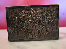 Vintage Antique Hand Hammered Metal Match Box Holder w/ Group of Figures