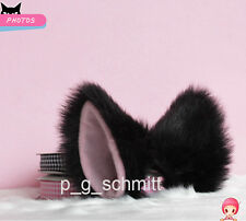 1 pair Lolita Loveless Anime Cosplay long fur Fox ears Party Neko Cat ears Black