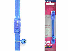 Ancol Glossy Cat Collar Reflective Safety Buckle Blue Red Silver with Bell