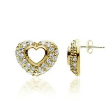 Gold Tone over Sterling Silver Cubic Zirconia Open Heart Stud Earrings