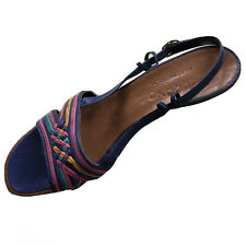 Carrano Made In Italy Purple, Pink and Blue Slingback Sandals Wood Heel Pretty!