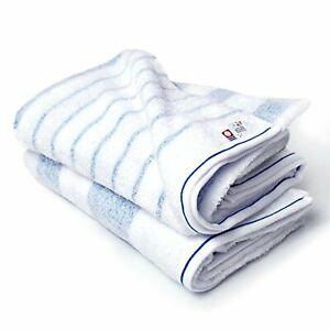 Imabari CYBERL / Oruta Bath Towel Stripe Set Of 2 Blue br_i_00081 4571349460313