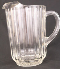 "Vintage 8-1/2"" Heavy Ribbed Clear Glass Pitcher Water Beer Bar Soda Restaurant"