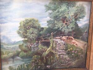 Original Antique Oil Paintings Signed Ann Kelly Sheep Landscape Framed