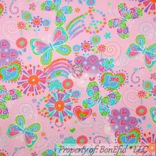 BonEful Fabric FQ Cotton Quilt Flannel Peace PINK Heart Hippie Butterfly Flower