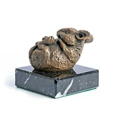 Bronze Sculpture of a Mouse on a solid marble base. Art, Sculpture, Ornament.