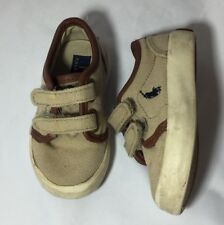 Polo Ralph Lauren Infant Baby Boy Sz 4 Canvas Rubber Shoes Khaki with Pony Logo