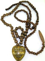 .RARE EX VOTO 1938 CATHOLIC MARIAL CONGRESS, BOULOGNE  RELIQUARY + WOODEN BEADS.