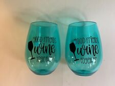 SET OF 2 Stemless Wine Glasses~Summer Style~Never Used