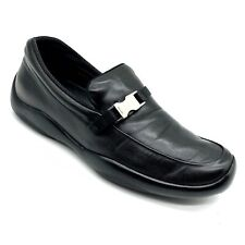 Prada Black Leather Silver Buckle Rubber Sole Loafers Men's Size 37.5 (US-7).